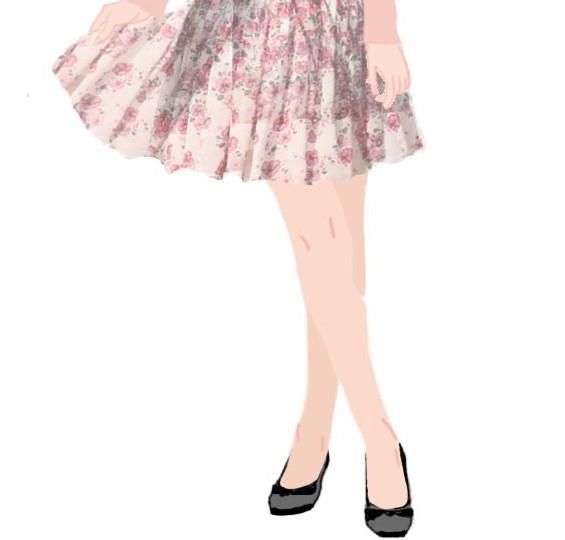 スカートの膝画像